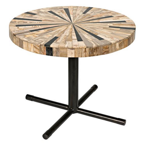 Shield Coffee Table, Petrified Wood w/Metal