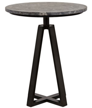 Z Compasso Side Table, Metal and Black Marble