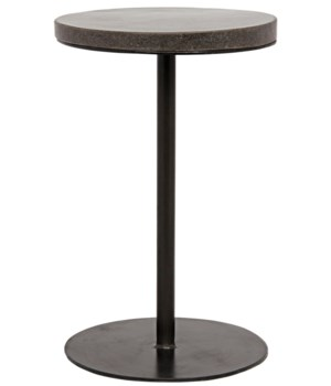 Lotus Side Table, Metal and Stone