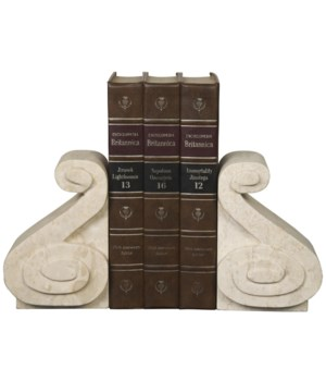 Curved Bookends, White Marble
