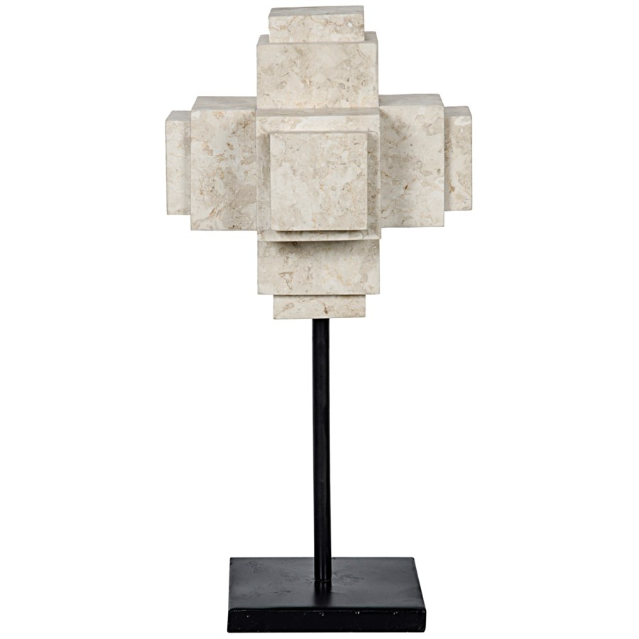 Cube On Stand, White Marble