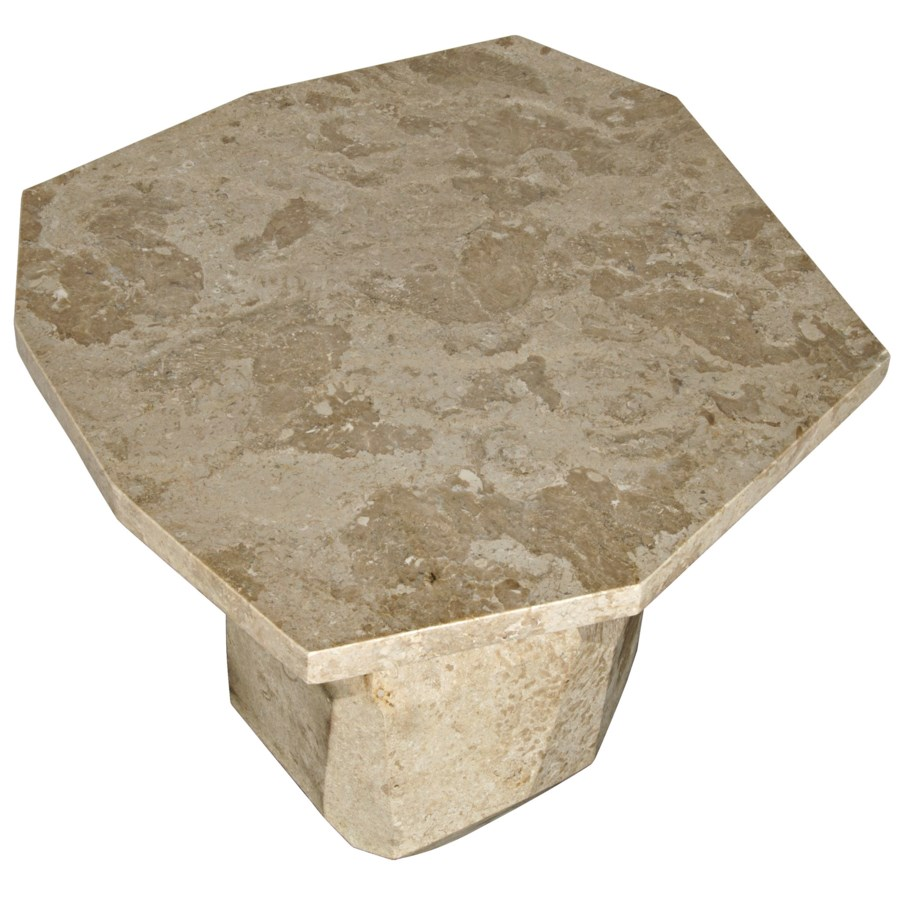 Polyhedron Side Table, White Marble