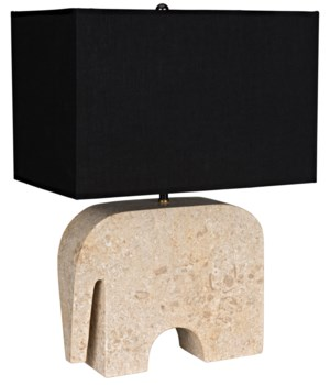 Elephant Lamp w/Shade, White Marble