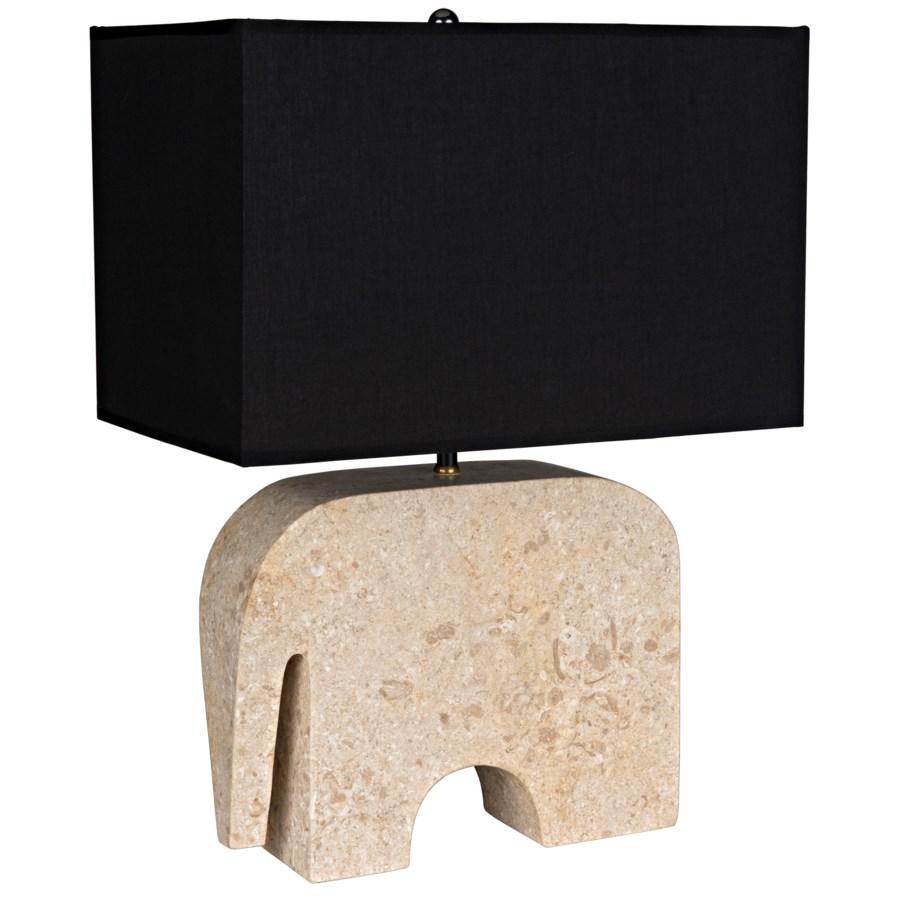 Elephant Lamp w/Shade, White Marble
