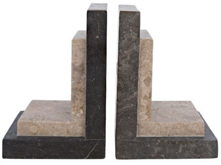 White and Black Marble Bookends