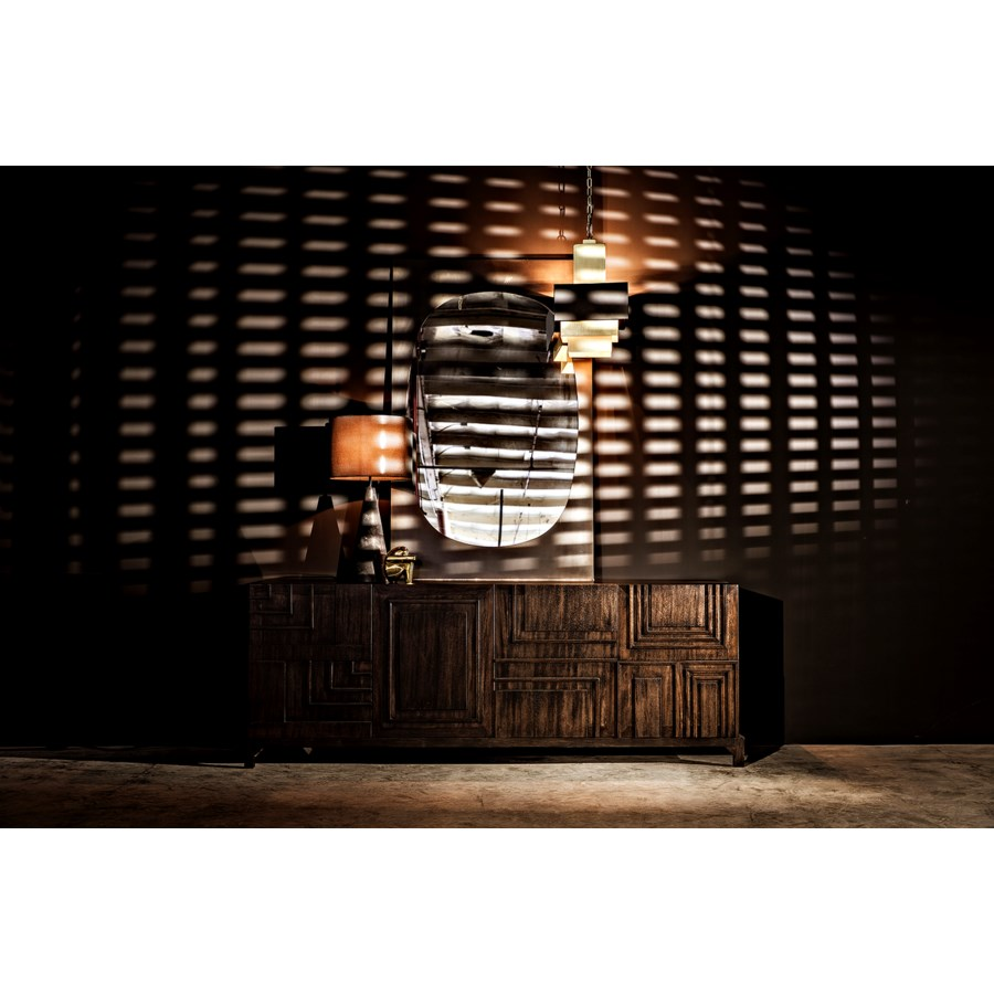 Cone Lamp w/Shade, Black Marble