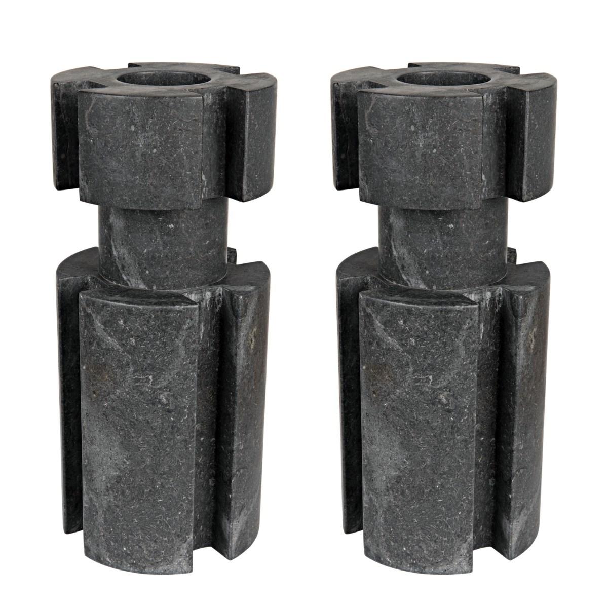 Doom Candle Holder Set /2, Black Marble