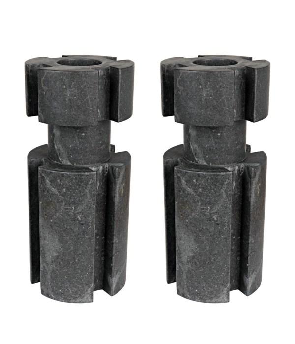 Doom Candle Holder Set of 2, Black Marble