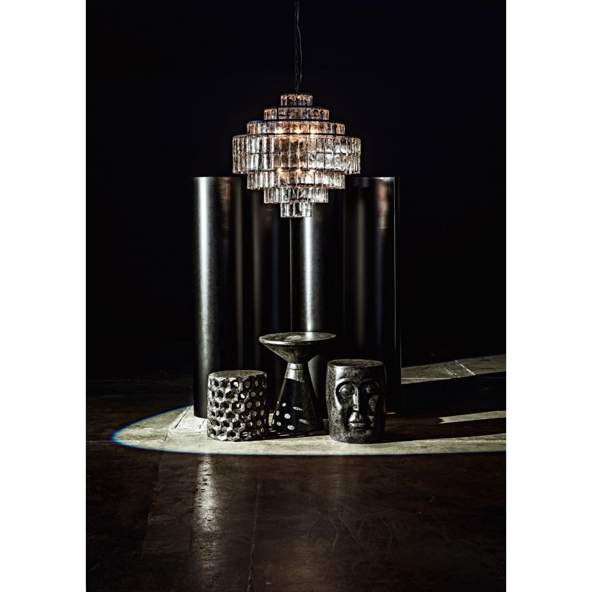 Pedestal Side Table, Black Fiber Cement