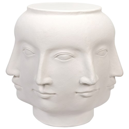 Multi-Face Stool, White Fiber Cement