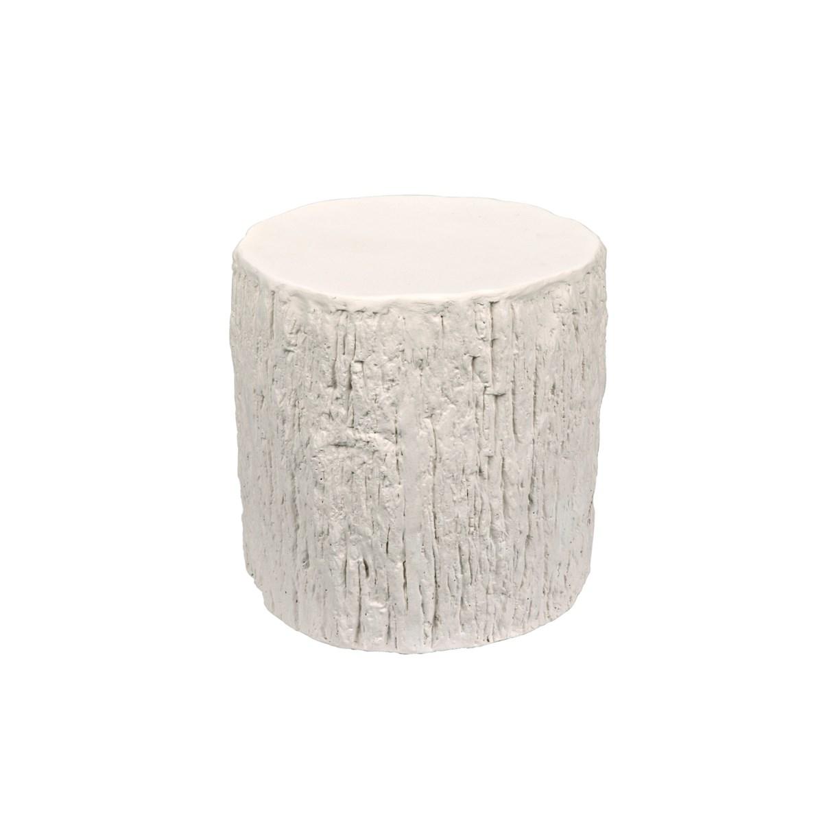 Trunk Side Table, White Fiber Cement