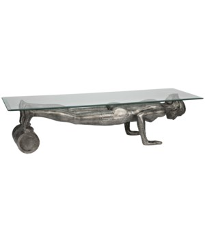 Plank Coffee Table, Aluminum/Glass