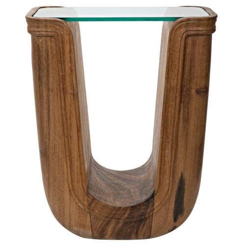 Ravine Side Table, Munggur w/Glass Top