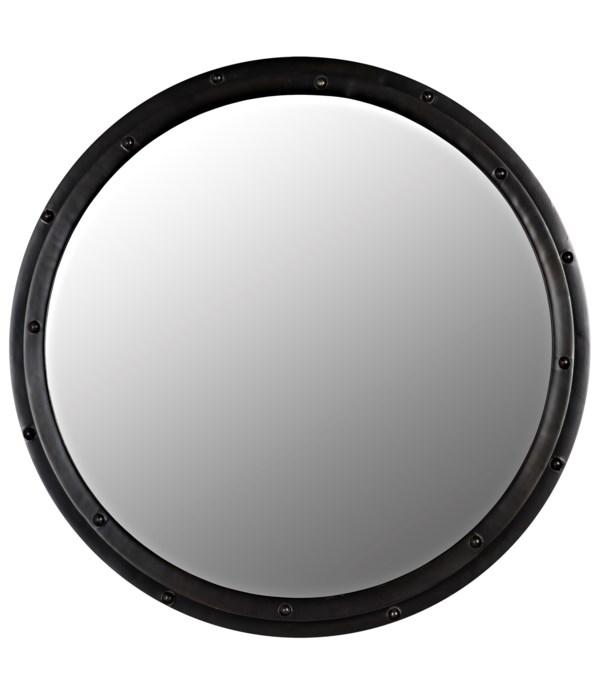 Round Mirror, Black Steel