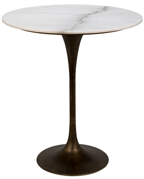 "Laredo Bar Table 36"", Aged Brass,White Marble Top"