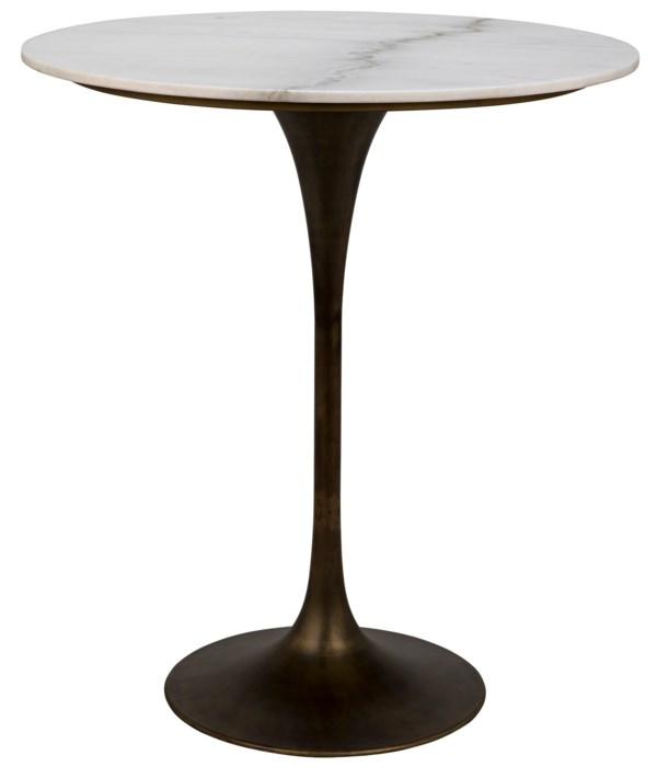 """Laredo Bar Table 36"""", Aged Brass, White Marble Top"""