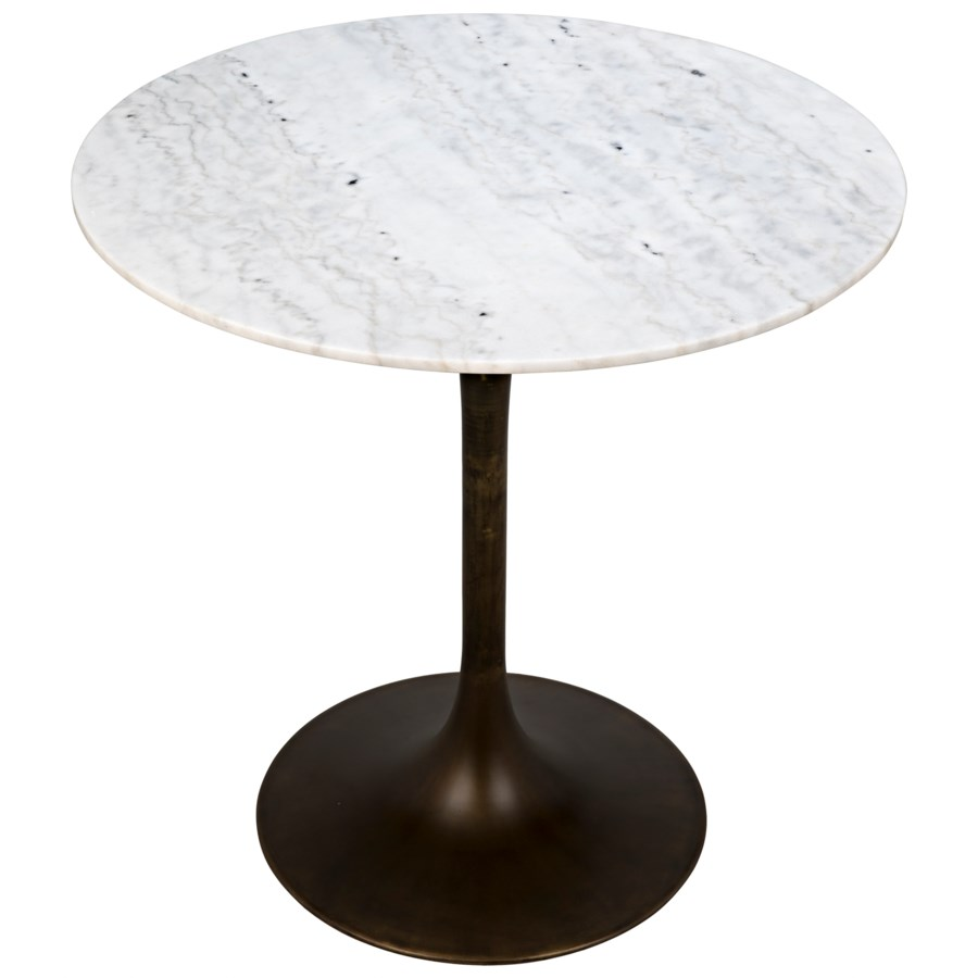 "Laredo Bar Table 40"", Aged Brass, White Stone Top"