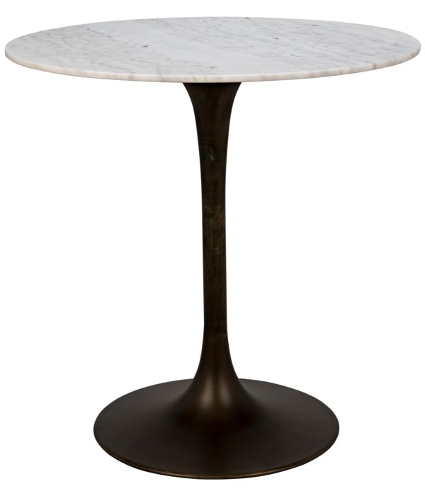 """Laredo Bar Table 40"""", Metal with Aged Brass Finish, White Stone Top"""