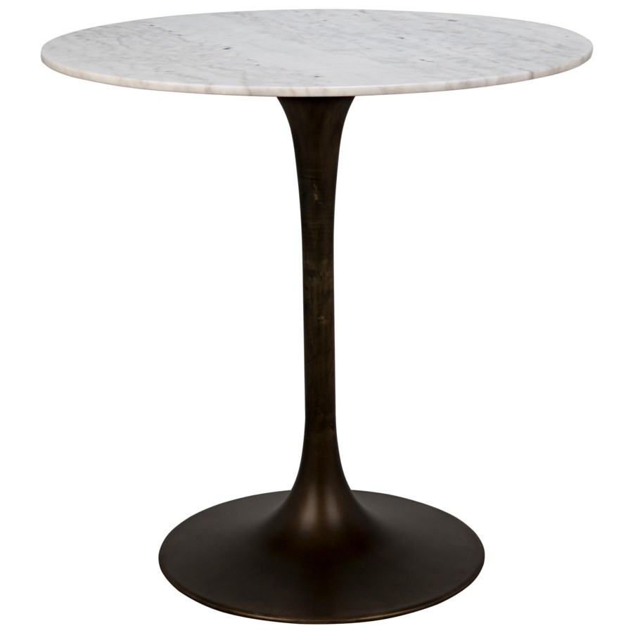 "Laredo Bar Table 40"", Aged Brass, White Marble Top"
