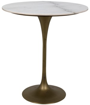 "Laredo Bar Table 36"", Antique Brass, White Marble Top"
