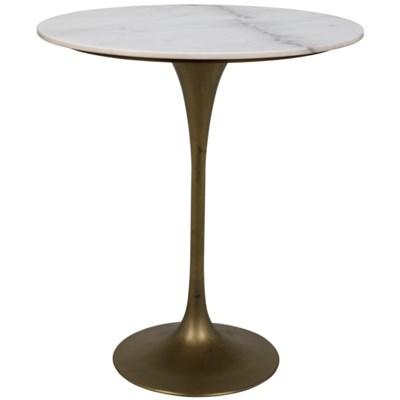 "Laredo Bar Table 36"", Antique Brass, White Marble Top"