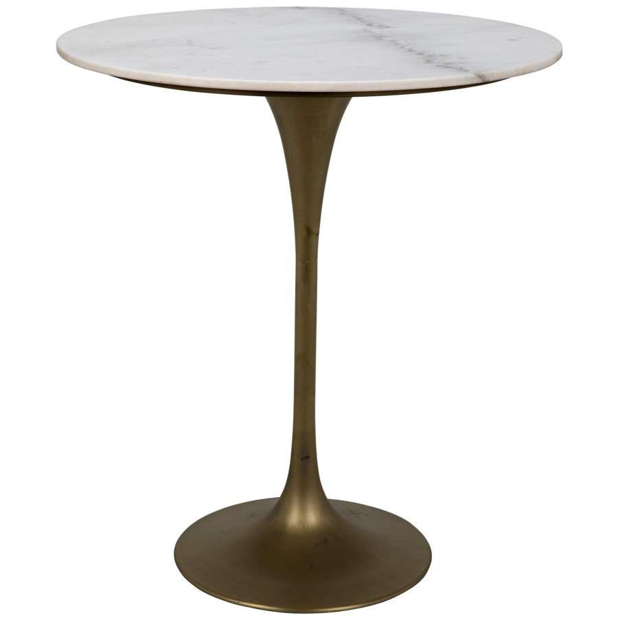 "Laredo Bar Table 36"", Antique Brass, White Stone Top"