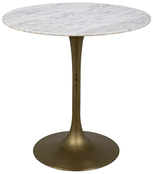 "Laredo Bar Table 40"", Antique Brass, White Marble Top"
