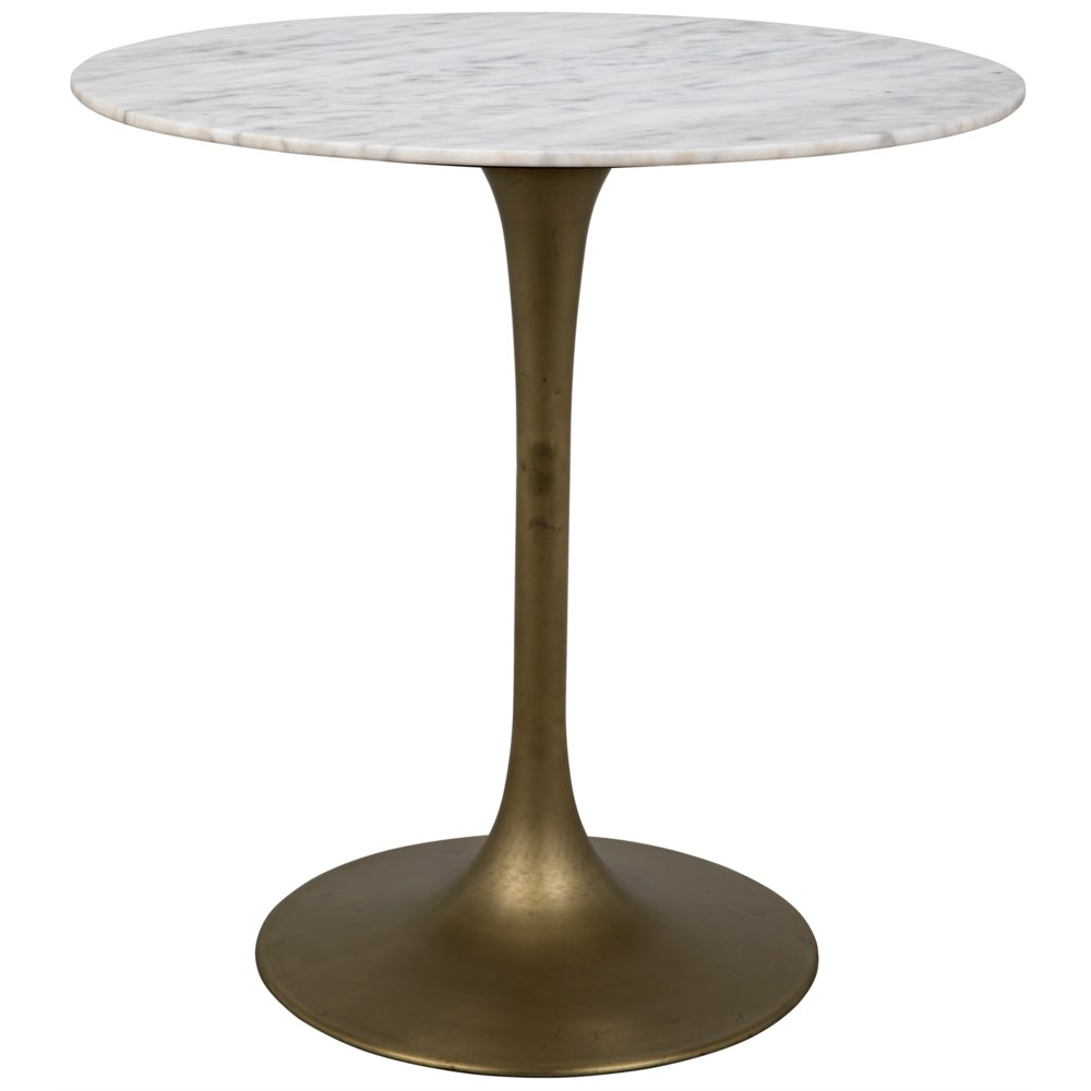 """Laredo Bar Table 40"""", Metal with Brass Finish, White Stone Top"""