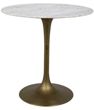 "Laredo Bar Table 40"", Antique Brass, White Stone Top"