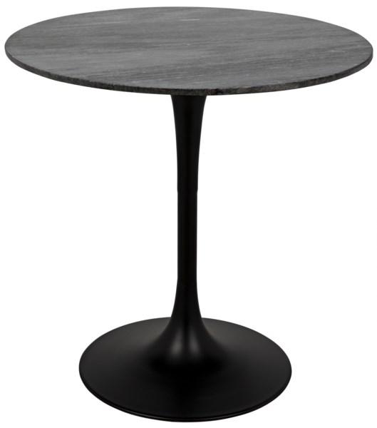 "Laredo Bar Table 40"", Black Metal with Black Stone Top"