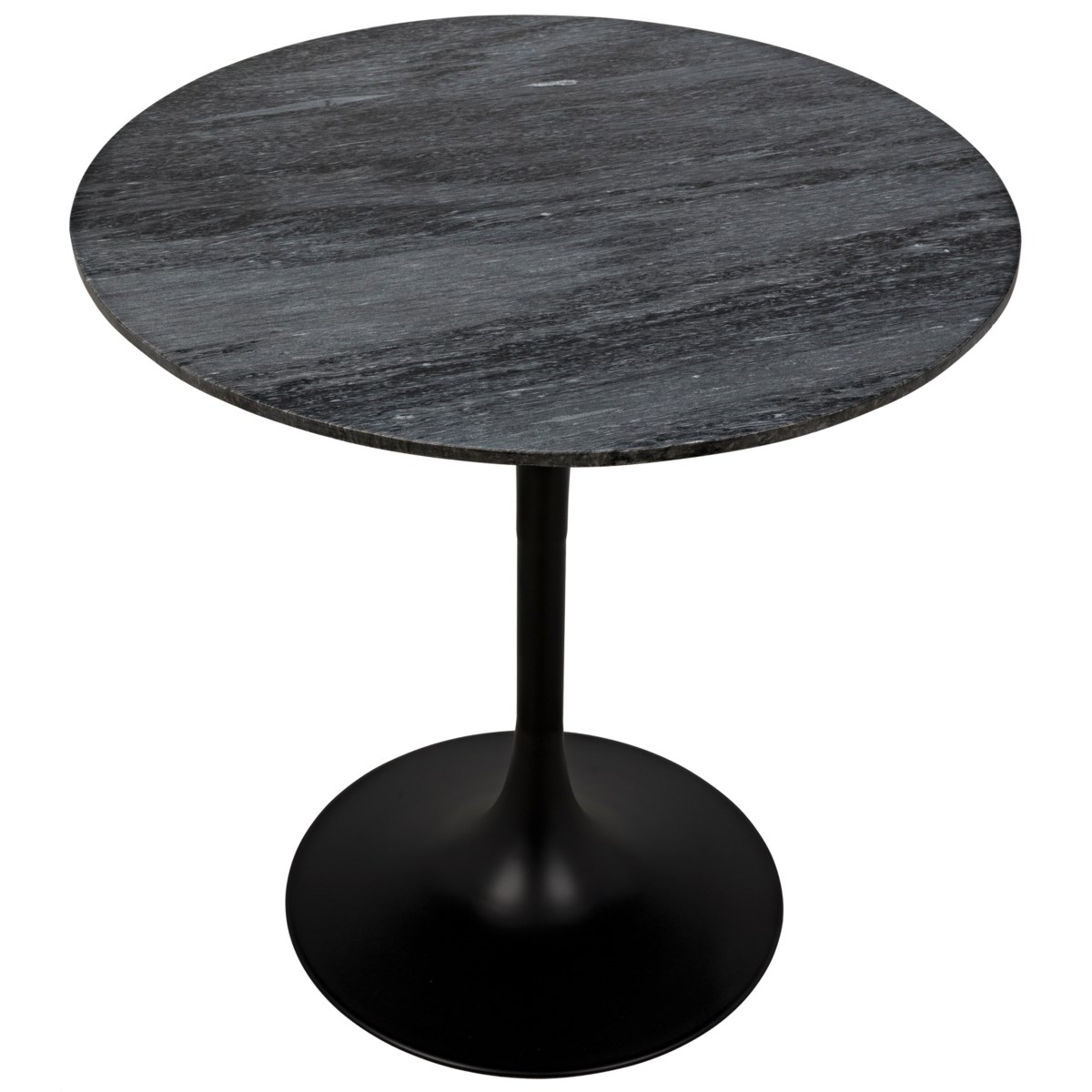 """Laredo Bar Table 40"""", Black Steel with Black Marble Top"""