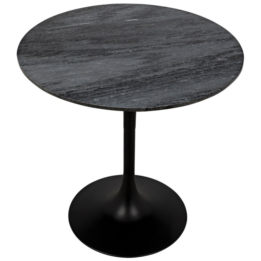 "Laredo Bar Table 40"", Black Metal with Black Stone Top"
