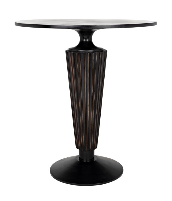 Gibraltar Bar Table, Hand Rubbed Black with Light Brown Trim