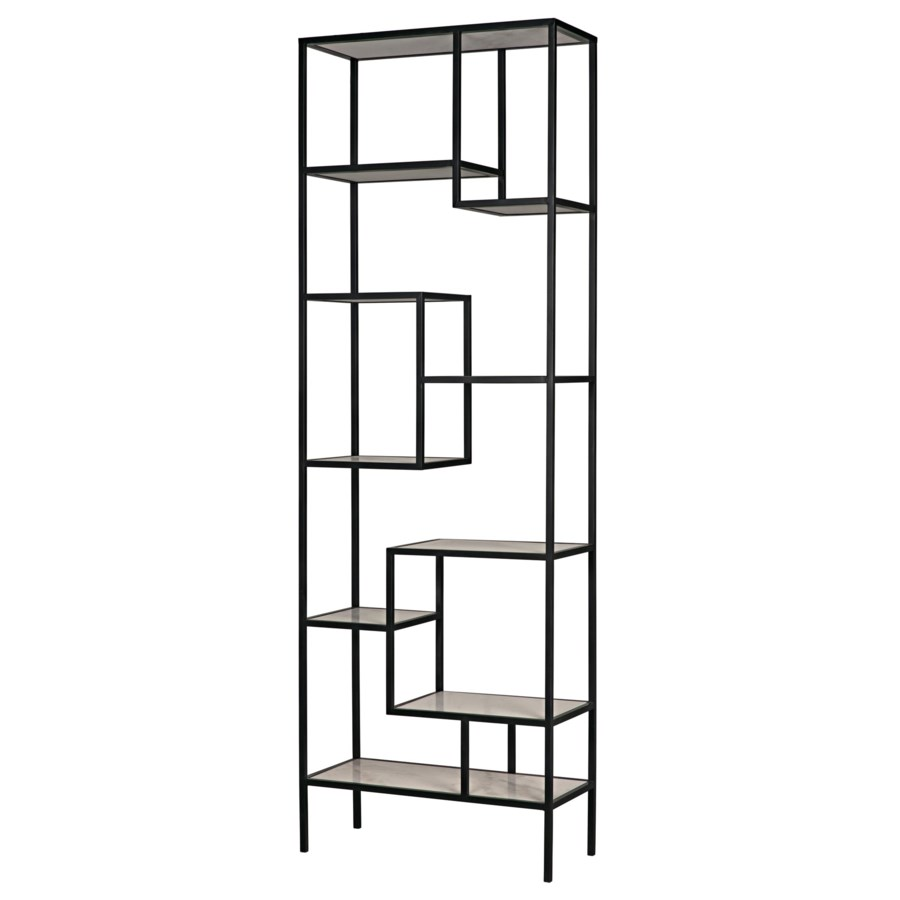 Haru Bookcase Xl, Black Metal with White Stone