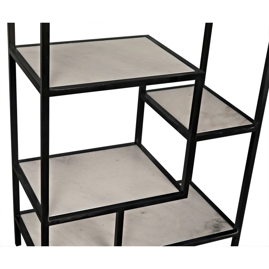 Haru Bookcase Large, Black Metal with White Stone
