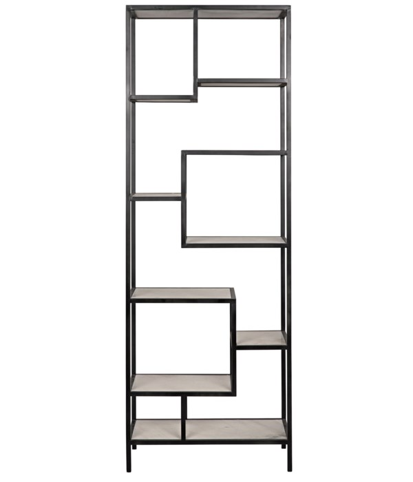Haru Bookcase, Large, Black Steel with White Marble