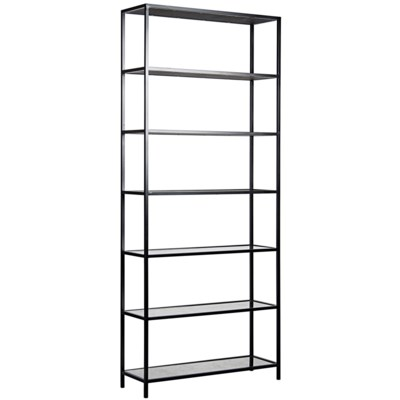 Zhao Bookcase, Black Metal and Antique Glass
