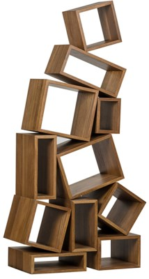 Cubist Bookcase, Dark Walnut