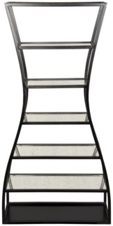 Elma Bookcase, Black Metal with Antique Glass