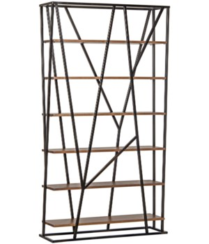 Pole Bookcase with Black Metal
