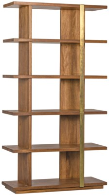 Eastman Bookcase, Dark Walnut and Antique Brass