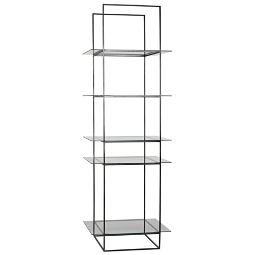 Sky Shelf, Black Metal with Glass