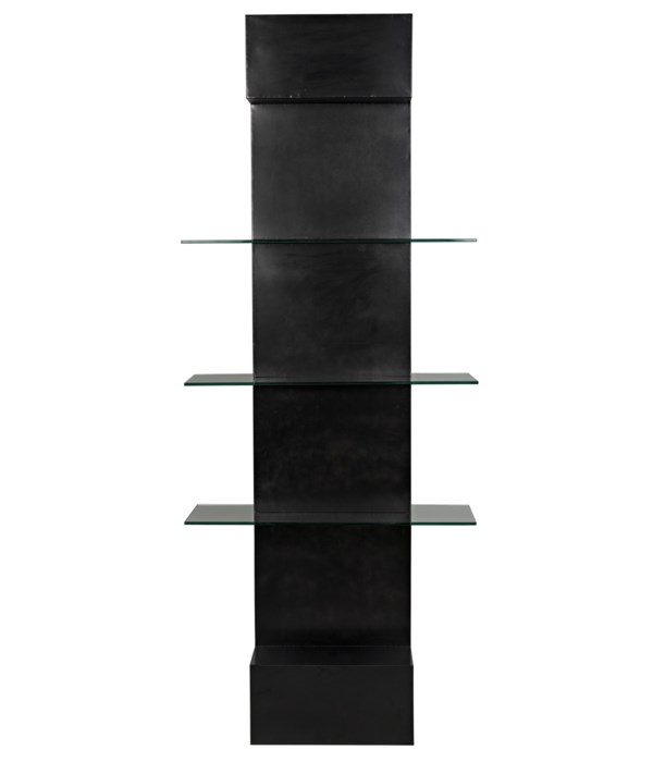 Colombo Shelving, Black Steel with Glass