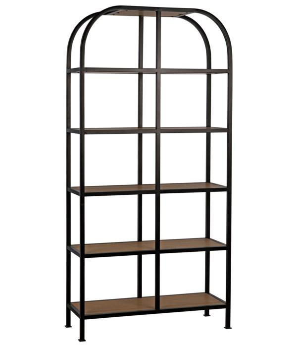 Sl07 Bookcase, Gold Teak and Steel