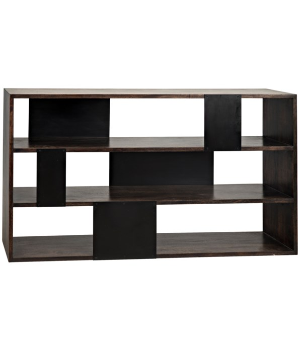 Reed Bookcase, Ebony Walnut with Steel