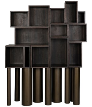 Mr. Roberts Shelving, Ebony Walnut w/Metal Legs