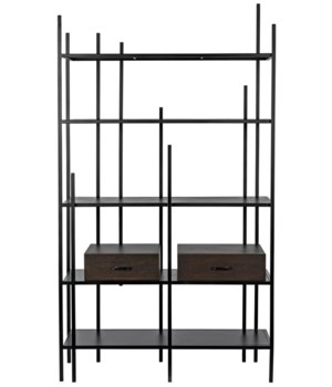 Lenox Bookcase, Black Metal w/EB