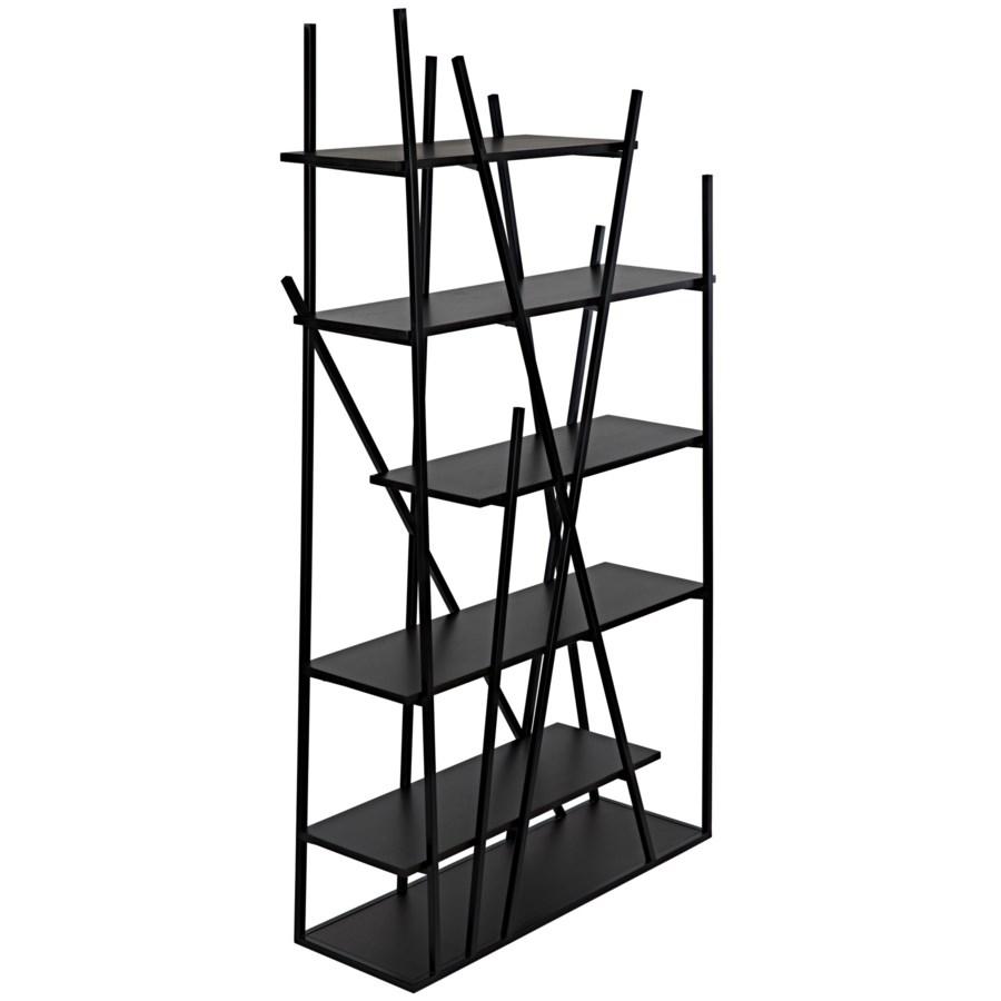 Botta Bookcase, Black Metal w/EB Walnut