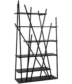 Botta Bookcase, Black Metal w/EB Walnut