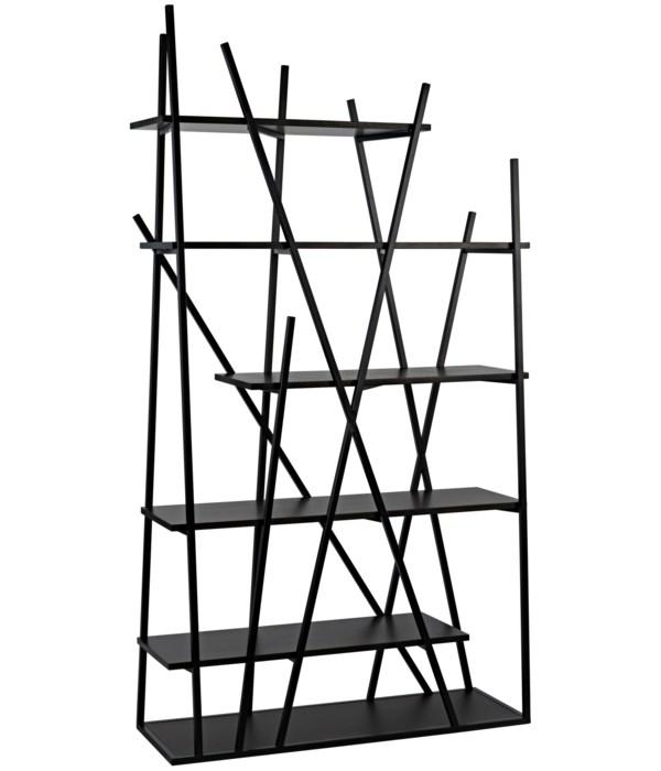 Botta Bookcase, Black Steel with Ebony Walnut